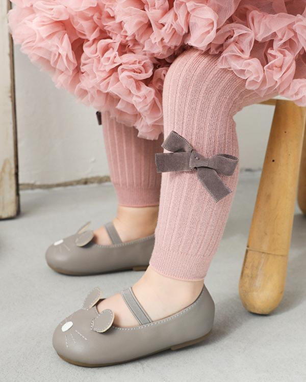 Baby / Toddler Girl Solid Knitted Bowknot Casual Leggings