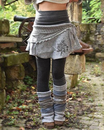 Retro Patchwork Sewing Warm Pants & Leggings & Skirt Three-Piece Set