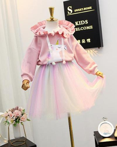 Baby / Toddler Hoodie Sweatshirt Rainbow Dress Set