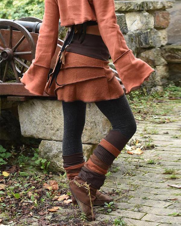 Women's Retro Patchwork Sewing Warm Pants & Leggings & Skirt Three-Piece Set