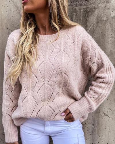 Knitted Leaf Hollow Crew Neck Sweater Pullover