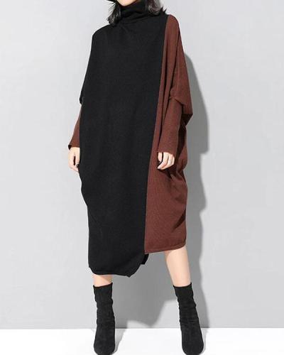 Women Autumn Color Block Long Sleeve Knitted Dress