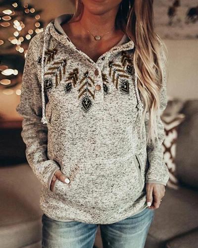 Women's Vintage Print Casual Pocket Fleece Hoodie & Sweatshirt