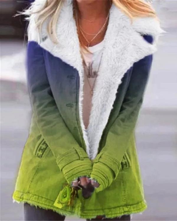 Long Sleeve Lapel Buttons Gradient Coats