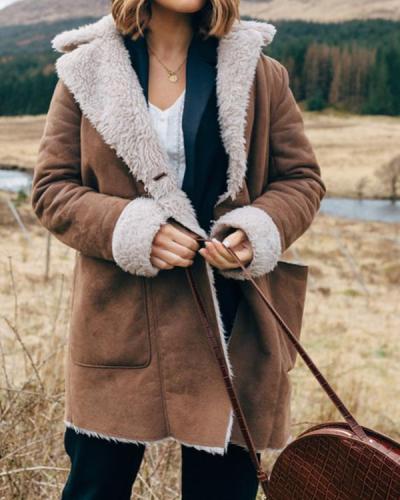 Long Sleeve Lapel Pockets Warm Coats