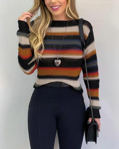 Personalized Stripe Contrast Sweater Pullover