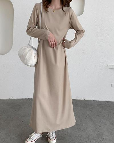 Casual Solid Color Crew-neck Dress