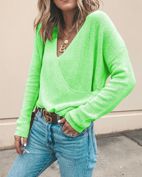 V-Neckline Solid Casual Loose Regular Shift Sweaters