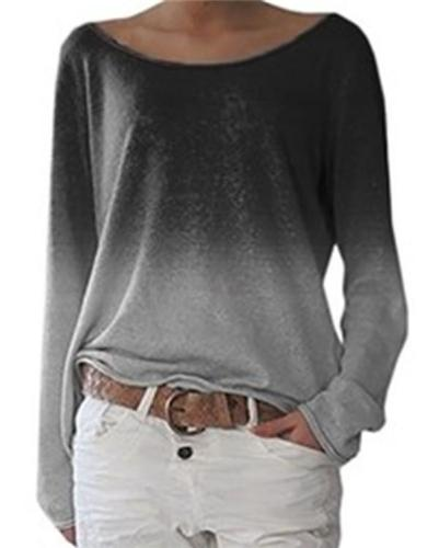 Women's Gradient Long Sleeve Fall Casual Crew Neck Daily Shift Tops