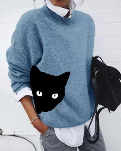 Round Neckline Cat Print Casual Loose Shift Sweaters