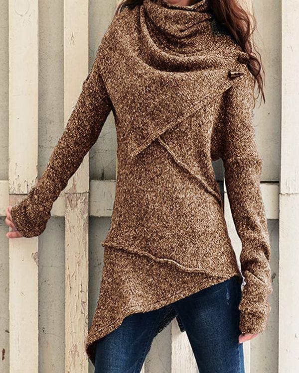 High Neckline Solid Casual Loose Regular A-line Sweaters