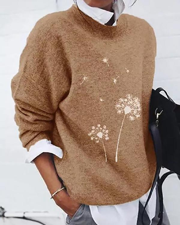 Round Neckline Print Casual Loose Shift Sweaters