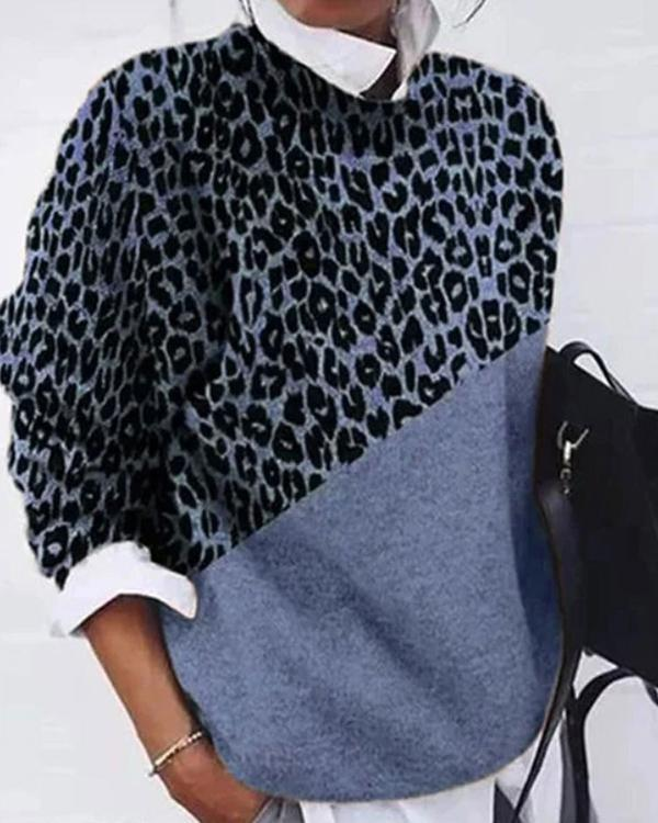 Color Block Leopard Sweater Leisure Long Sleeved Tops