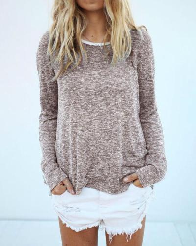 Women's Fall Long Sleeve Binding T-Shirt