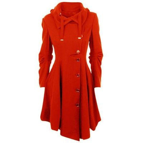 Women Long Sleeve Collar Buttons Trench Coats
