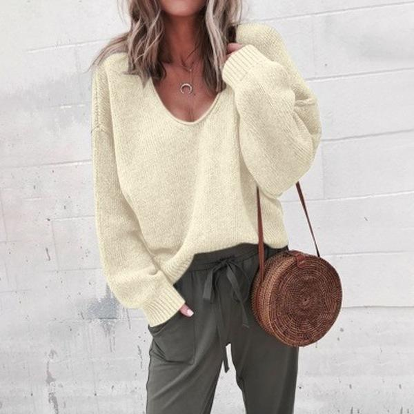 Women's Fashion Autumn Deep V-neck Solid Color  Sweater
