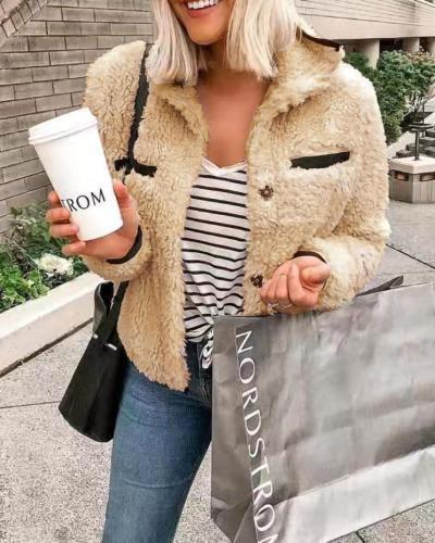 Wool Jacket Solid Warm Fall Winter  Oversized Long Sleeve Outerwear Coat