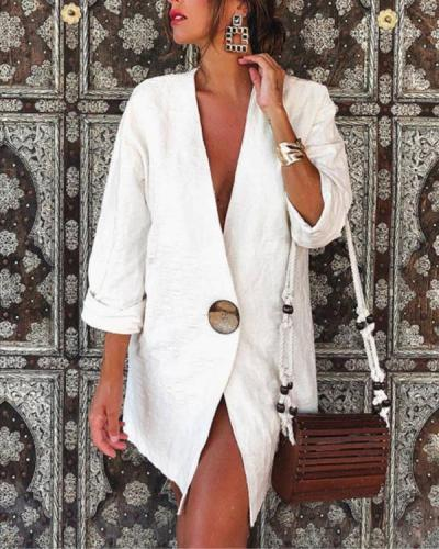 Women's Solid V Neck Cotton & Linen Blazer Top