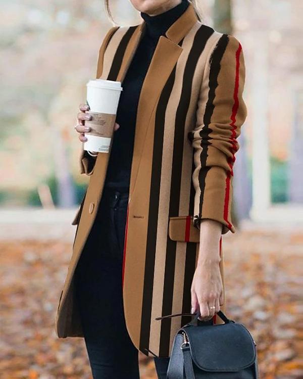 Fashion Stripe/Plaid One Button Pockets Blazer&Coat