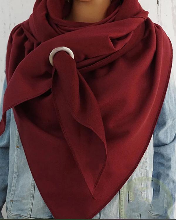 Women Solid Color Scarf Wrap Multi-purpose Neck Wrap Warm Scarf