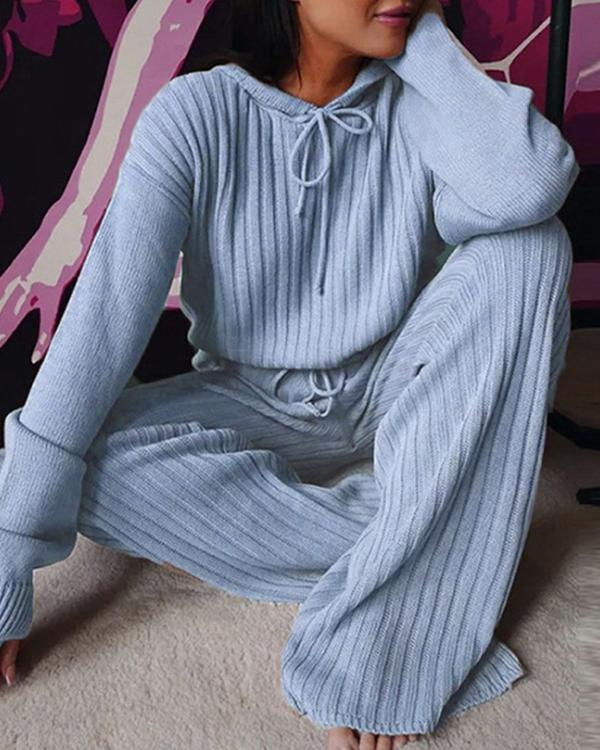 Casual Hoodie Cotton-Blend Long Sleeve Sweaters Suits