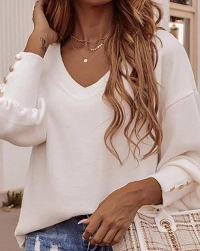 Office Ladies Elegant Plain Color V-neck Blouses