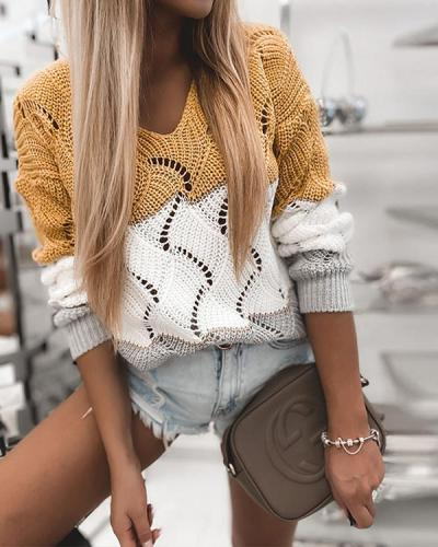 Hollow Out Knitted Long Sleeve Pullover Sweater