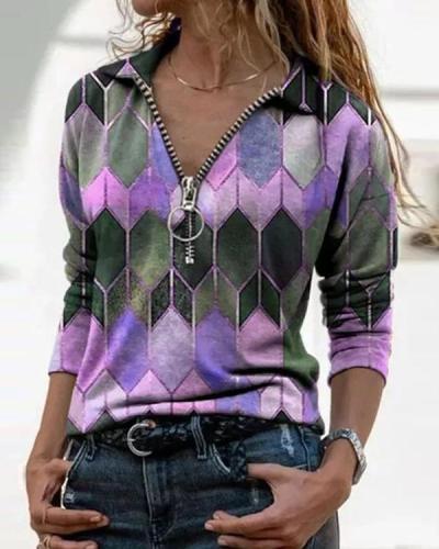 Color Block Casual Collar Zipper Long Sleeve Blouses