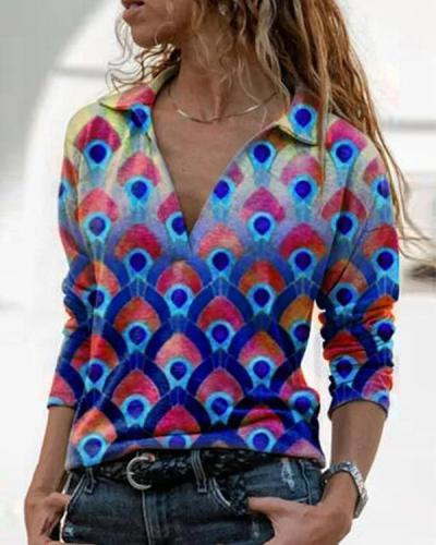 Floral Printed Cotton-Blend Long Sleeve Casual Blouse