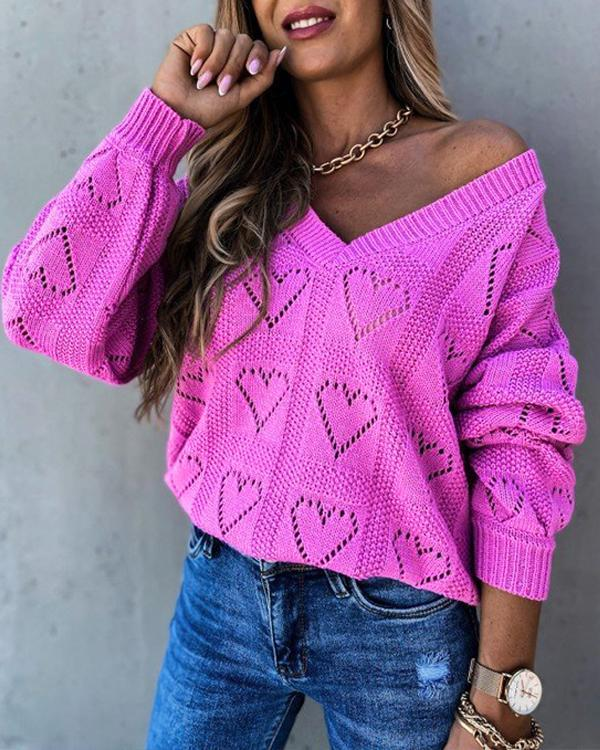 Women's Basic Hollow Out Solid Color Long Sleeve Loose Sweater