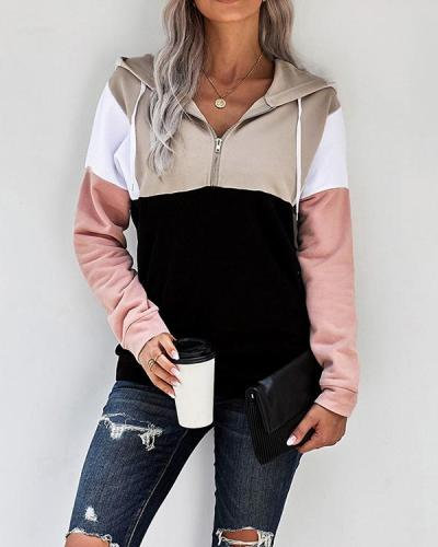 Color Block Zipper Collar Drawstring Hooded Blouse