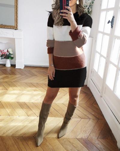 Women's Knit Sweater Long Sleeve Bodycon Mini Dress