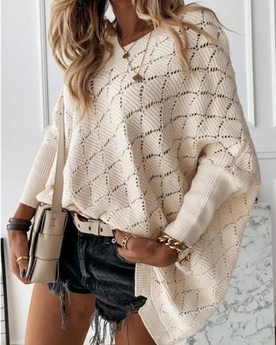 Women Knit V-Neck Casual Long Sleeves Sweaters