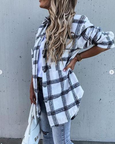 Shirt Collar Long Sleeve Vintage Checkered Shirts