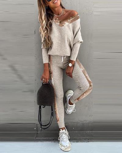Sequins V Neck Fashion Casual Top & Pants Suit