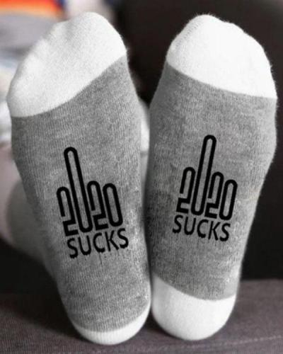 2020 SUCKS Middle Finger Graphic Crew Socks