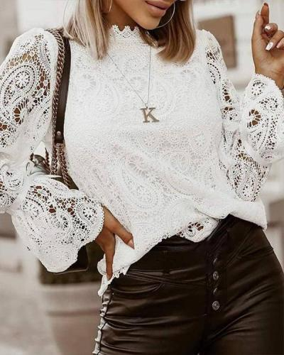 Lace Stand Collar Plain Standard Long Sleeve Blouse