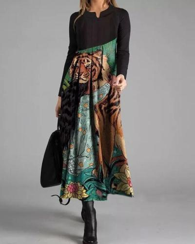 Elegant Color Block V-Neckline Maxi X-line Dress