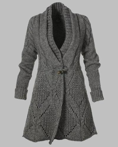 Women Solid Horn Button V Neck Cardigan Sweater Winter Coats