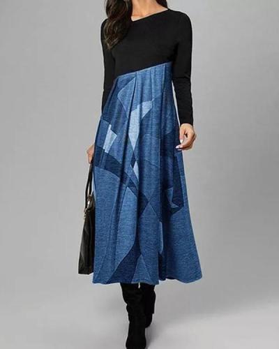 Casual Color Block Tunic Oblique Neckline A-line Dress