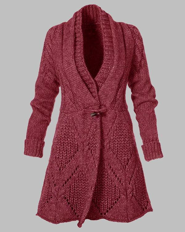 Women Solid Horn Button V Neck Cardigan Sweater Winter Coats