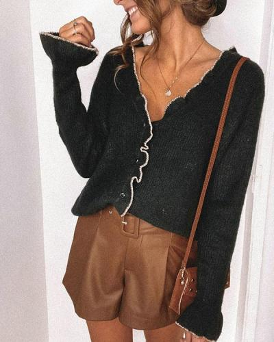 Women's Ruffled Button up Sweater