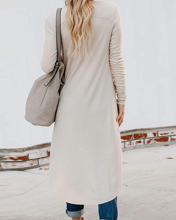 Long SleeveButton Down Pocketed Chic Cardigan