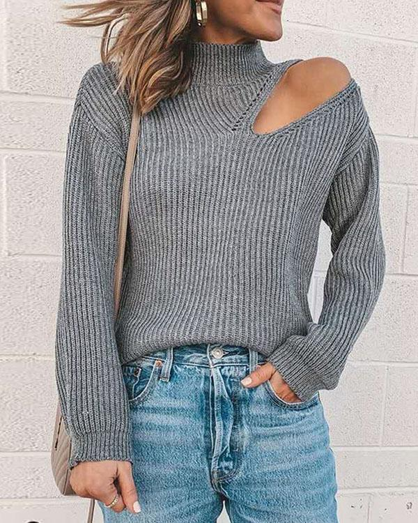 Solid Color Hollow out Turtleneck Slim Fit Sweater