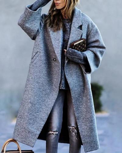 Women Casual Fashion Solid Color Overcoat