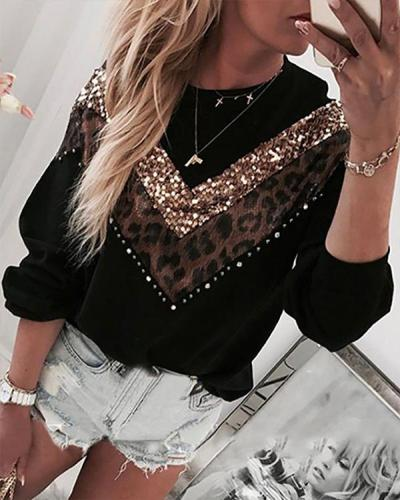 Leopard Print Daily Pullover Casual  Sweatshirt