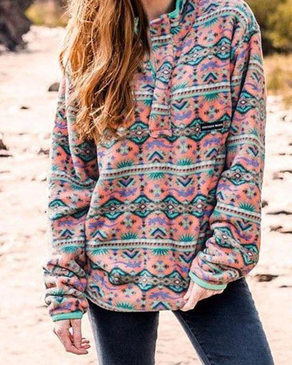 Boho Print Casual Stand Collar Cotton Sweatshirt
