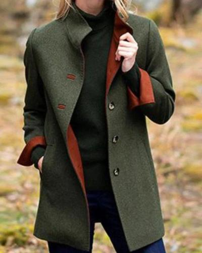 Green Solid Long Sleeve Pockets Outerwear