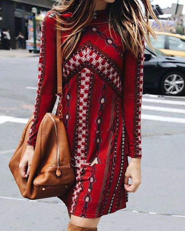 Vintage Print Red Slim-fit Long Sleeve Dress