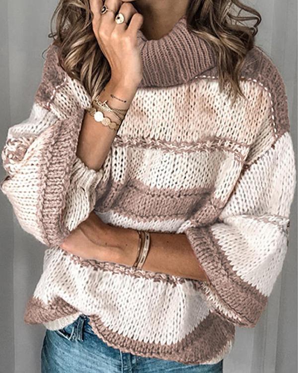High Collar Long Sleeve Casual Loose Sweater Top